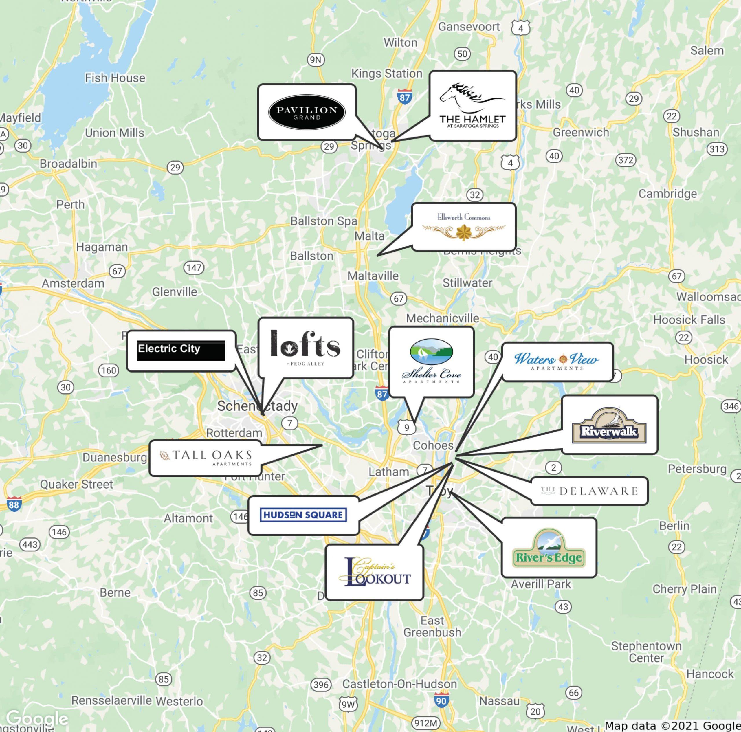 Prime Companies Apartment Locations Map